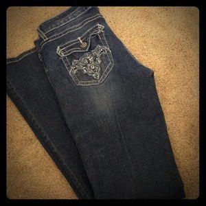 Rock 47 jeans by wrangler. Ultra Low rise